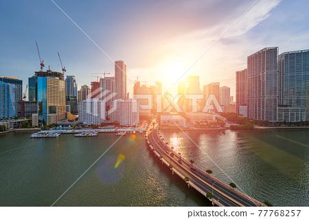 Miami, Florida, USA skyline over Biscayne Bay 77768257