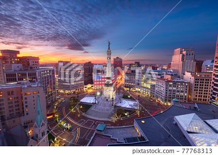 Indianapolis, Indiana, USA skyline over Monument Circle 77768313