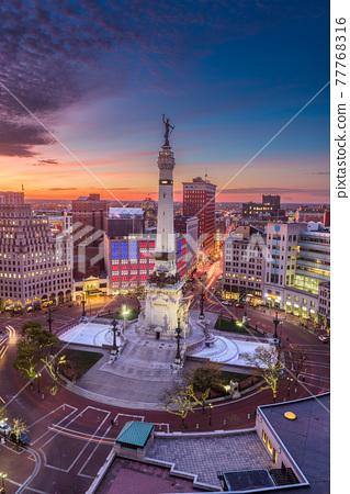 Indianapolis, Indiana, USA skyline over Monument Circle 77768316