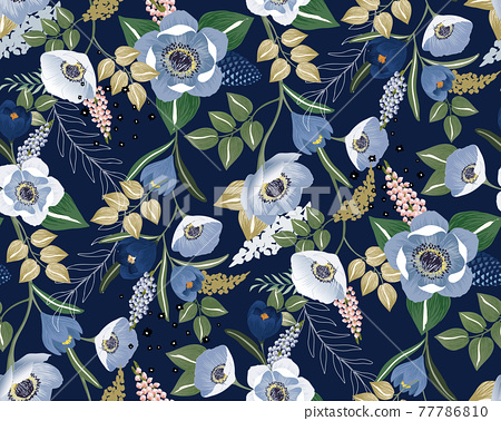 Vector illustration of a seamless floral pattern in winter for Wedding, anniversary, birthday and party. Design for banner, poster, card, invitation and scrapbook  77786810