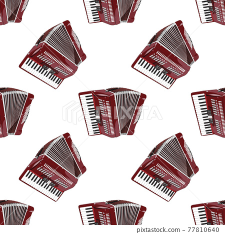Musical instrument accordion on a white background is a seamless modern pattern. Vector 77810640