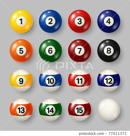 Colorful billiard, pool balls with numbers on gray background. Realistic glossy snooker ball. Vector 77811372