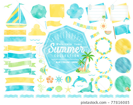 仲夏水彩畫框/沙灘、大海、自然/橫幅、氣球 77816085