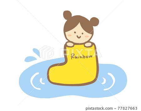 Cute yellow boots, children (girl) and puddle summer (rainy season) / handwritten illustrations 77827663