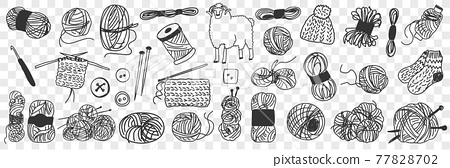 Production of wool doodle set 77828702