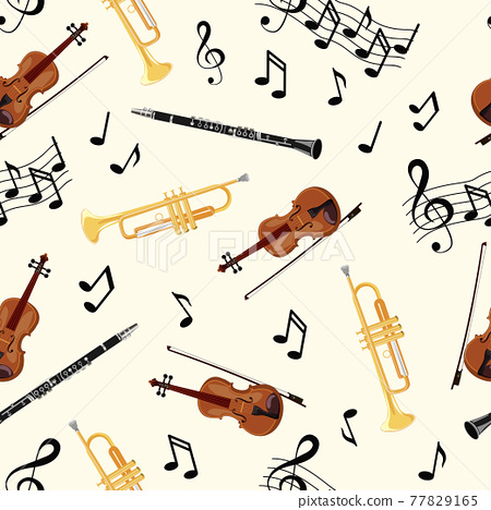Seamless pattern with violins, pipe, oboe and notes on white background. Art vector illustration 77829165