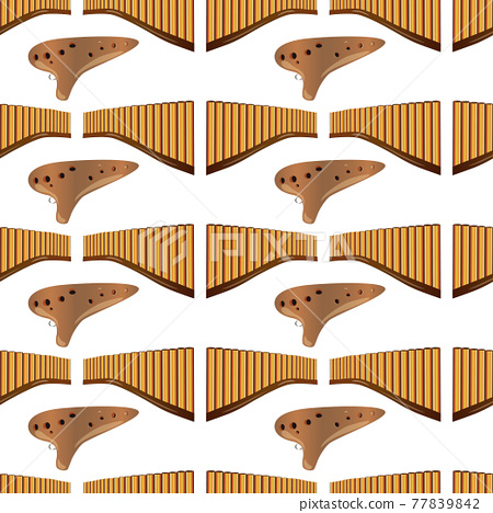 Realistic pan flute and ocarina isolated seamless pattern on white background. Traditional russian and peruvian musical instruments. Zampona. Folk instrument from Peru, Bolivia and Mexico. Vector 77839842