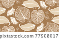 Natural fabric seamless pattern with tropical leaf palm . Vector illustration. 77908017