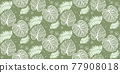 Natural fabric seamless pattern with tropical leaf palm . Vector illustration. 77908018