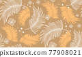 Natural fabric seamless pattern with tropical leaf palm . Vector illustration. 77908021