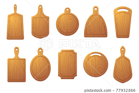Cutting table for food. Wooden plate for pizza or natural sliced products exact vector colored illustrations isolated 77932866