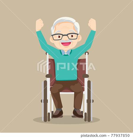 elderly man sitting in wheelchair raising hands 77937850