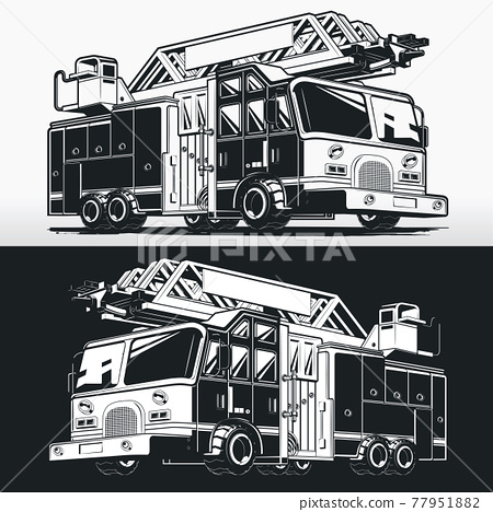 Silhouette Firefighter Truck Fire Engine Stencil Vector Drawing 77951882