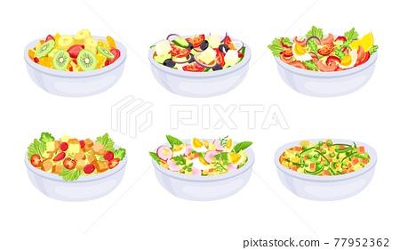 Salad dishes. Bowl with fresh healthy vegetable slices. Greek, fruit salad and caprese. Vegetarian diet meal. Natural ingredients vector set 77952362