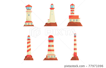 Lighthouse Tower Serving as Navigational Aid on Sea Vector Set 77971096