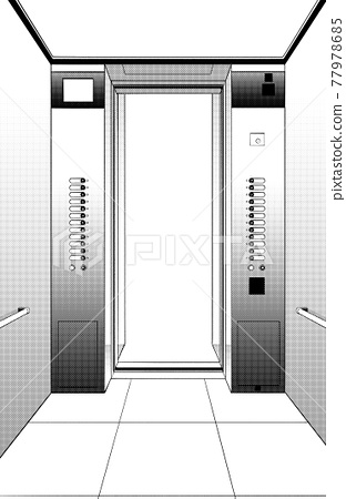 Cartoon style pen drawing illustration elevator 77978685