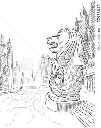 Sketch Singapore Merlion Landmark Doodle Outline Vector Drawing 77978818