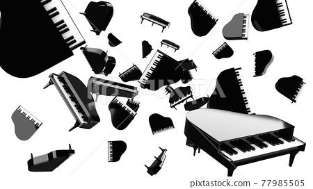 Many black pianos on white background. 77985505