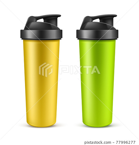 Realistic empty plastic protein shaker, mixer or drink bottle 77996277