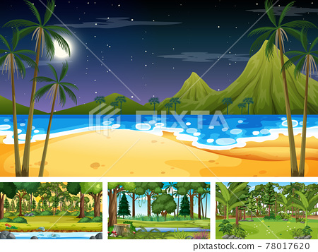Set of different nature horizontal scenes 78017620