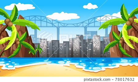 Tropical beach landscape scene with cityscape background 78017632