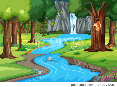 Jungle scene with many trees and waterfall 78017656