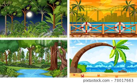Four different nature horizontal scenes 78017663