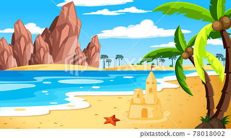 Tropical beach landscape at daytime scene 78018002