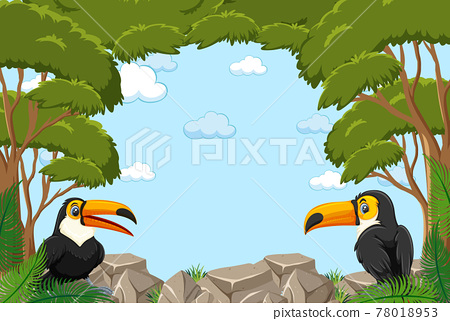 Empty banner with leaves frame and toucan cartoon character 78018953