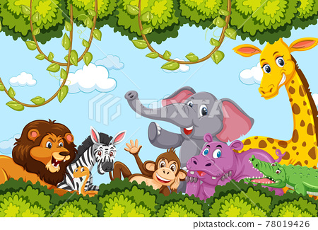 Wild animals group in the forest frame 78019426