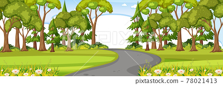 Road through the park at day time horizontal scene 78021413