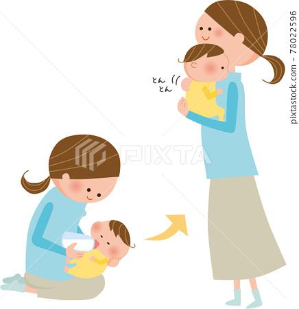 엄마와 아기 우유 일러스트 78022596