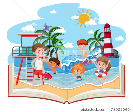 Open book with happy children on the beach 78023040