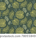 Seamless pattern with tropical leaf palm . Vector illustration. 78055849