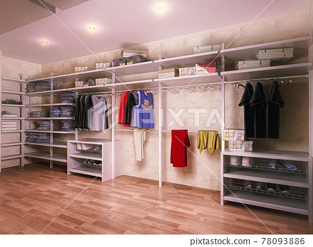 3D illustration of a dressing room in a private house. Interior design of a wardrobe in a modern style 78093886