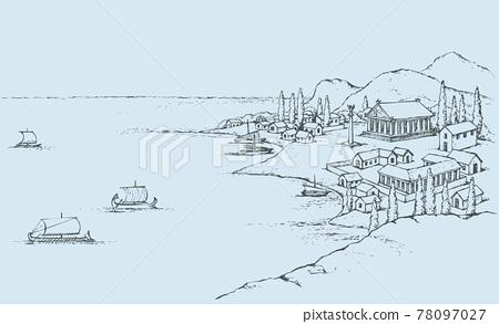 Rocky coast with ancient Greek buildings. Vector sketch 78097027