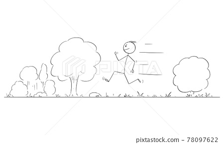 Person or Man Running on Road in Nature, Vector Cartoon Stick Figure Illustration 78097622