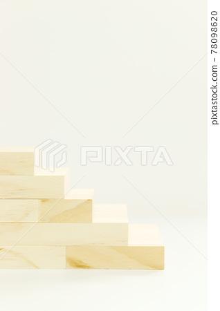 [적목 계단] 나무 조각 내츄럴 (복사 공간 흰색 배경) 78098620