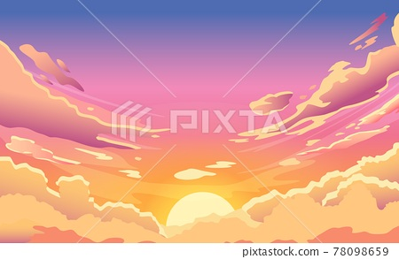 Sunset sky. Cartoon summer sunrise with pink clouds and sunshine, evening cloudy heaven panorama. Morning vector landscape 78098659