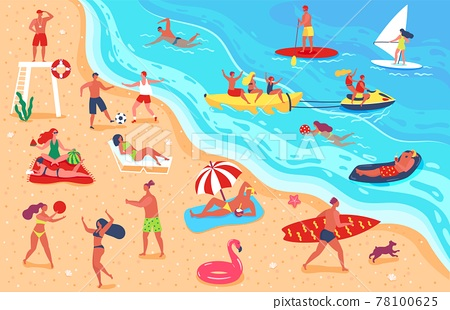 People at beach. Man and woman having fun and relaxing on beach. Friends playing sports, sunbathing, swimming. Summer vacation vector illustration 78100625