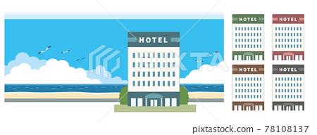호텔 및 바다 일러스트 소재 78108137