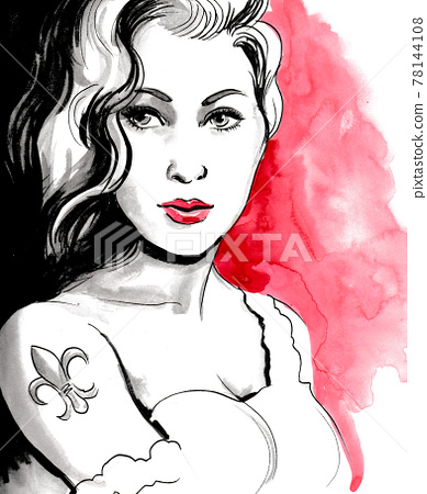 Beautiful woman with a tattoo on her shoulder. Ink and watercolor drawing 78144108