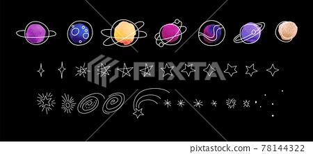 Modern sketch set on black backdrop. Hand drawn line art cartoon vector illustration. Planets and stars 78144322