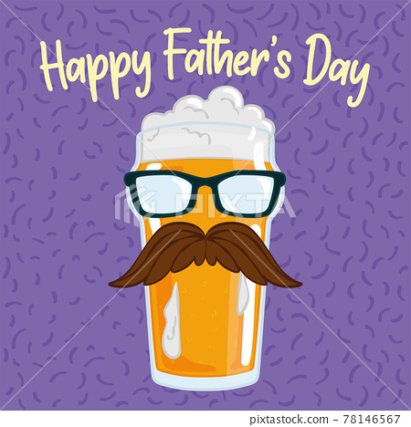 Father day poster with a beer drinking glass with a mustache and glasses 78146567