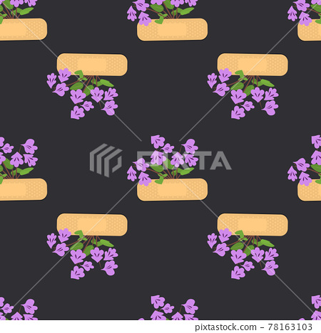Seamless pattern with sticking plasters and purple flowers. Medical patch repeat texture. 78163103