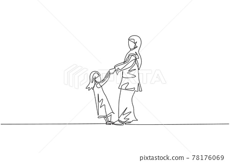 Single one line drawing of young Arabian mom and daughter holding hand, playing together vector illustration. Happy Islamic muslim family parenting concept. Modern continuous line graphic draw design 78176069
