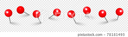 Realistic red push pins. Board tacks isolated on transparent background. Plastic pushpin with needle 78181493