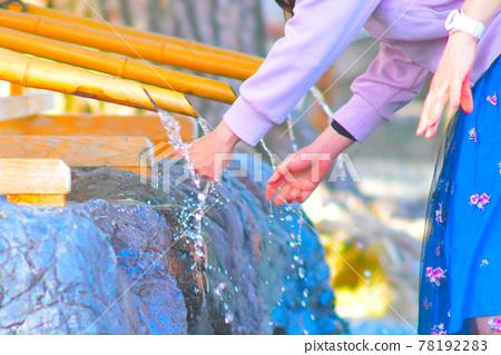 Japan / Kyoto Shrine / Women washing hands 78192283