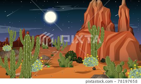 Desert forest landscape at night scene 78197658