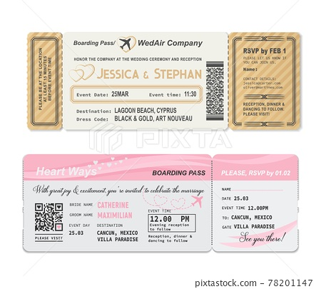 Wedding invitation, boarding pass ticket template 78201147